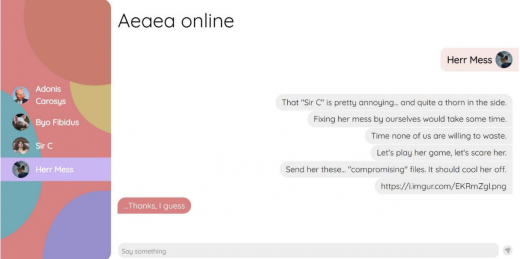 A social media chat where user interacts by sending messages to what seems like other users