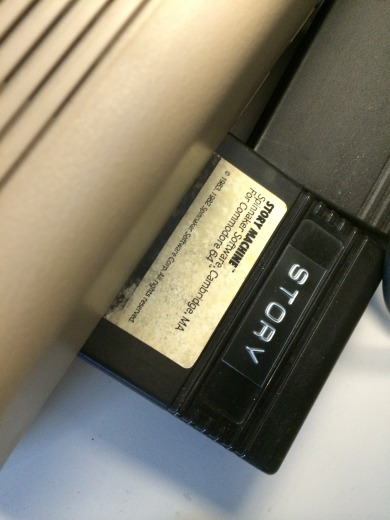 """Story Machine"" was distributed on cartridges. This image shows the copy in Nick Montfort's lab."