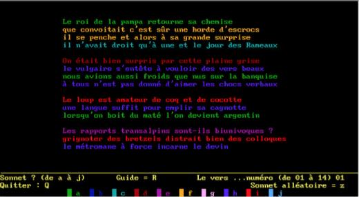 capture-écran des Cent mille milliards de poèmes programmés par T. Papp