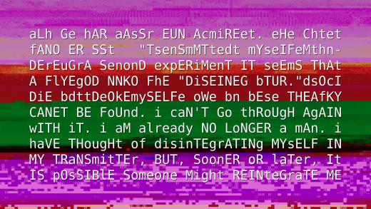 A screen with glitched text, mostly English, over a glitched image.
