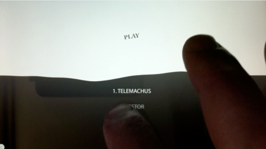 Picture of an Iphone or Ipad screen using the app to play the game